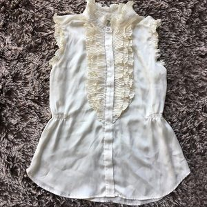Converse blouse ruffles button down ivory Medium M